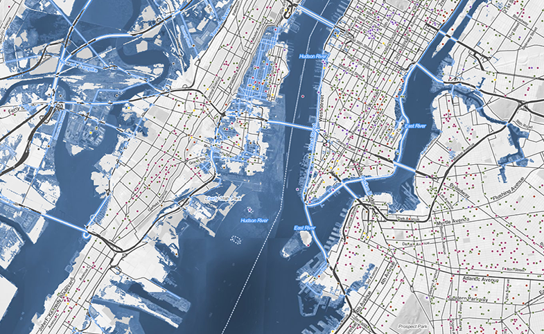 Surging Seas Risk Zone Map - Projected sea level rise map