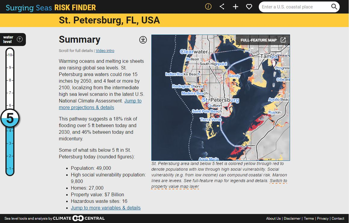 Surging Seas Sea Level Rise Analysis By Climate Central - Us sea level map